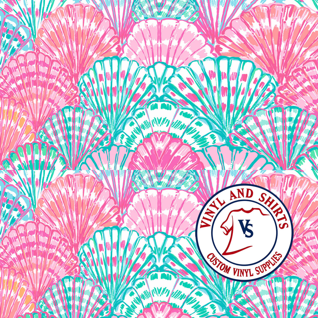 Sea Shells /Lilly inspired  / shirts / Printed Vinyl /Printed Outdoor Vinyl / Printed HTV/Printed Heat Transfer Vinyl/Lilly inspired