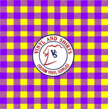 Load image into Gallery viewer, yellow and purple plaid Vinyl / Printed 651  /LSU  /Printed Outdoor Vinyl / Printed HTV/Printed Heat Transfer Vinyl/ tigers