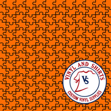 Load image into Gallery viewer, Orange Puzzle Patterned Vinyl / Printed 651 Vinyl / Printed Vinyl / autism  puzzle / Printed HTV/Printed Heat Transfer Vinyl/ Lilly P