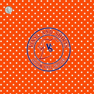 Orange Polka Dots Patterned Vinyl / Printed 651 Vinyl / Printed Vinyl /Printed Outdoor Vinyl / Printed HTV/Printed Heat Transfer Vinyl