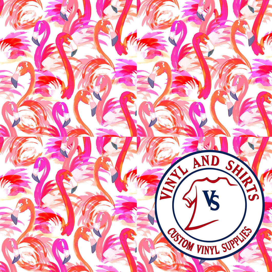 White Flamingo Patterned Vinyl / Printed 651 Vinyl / Pattern Vinyl /Printed Outdoor Vinyl / Pattern HTV/Printed Heat Transfer Vinyl