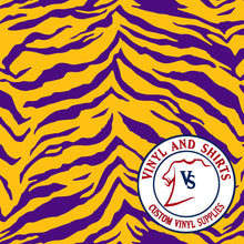 Load image into Gallery viewer, LSU Tiger Patterned Vinyl / Printed 651 Vinyl / Pattern Vinyl /Printed Outdoor Vinyl / Pattern HTV/Printed Heat Transfer Vinyl
