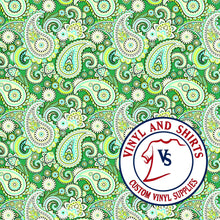 Load image into Gallery viewer, Mint green Paisley Patterned Vinyl, Bandana Patterned Vinyl,  /patterned 651 Vinyl /Printed Outdoor Vinyl / Printed HTV/ Heat Transfer Vinyl