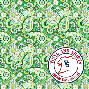 Mint green Paisley Patterned Vinyl, Bandana Patterned Vinyl,  /patterned 651 Vinyl /Printed Outdoor Vinyl / Printed HTV/ Heat Transfer Vinyl