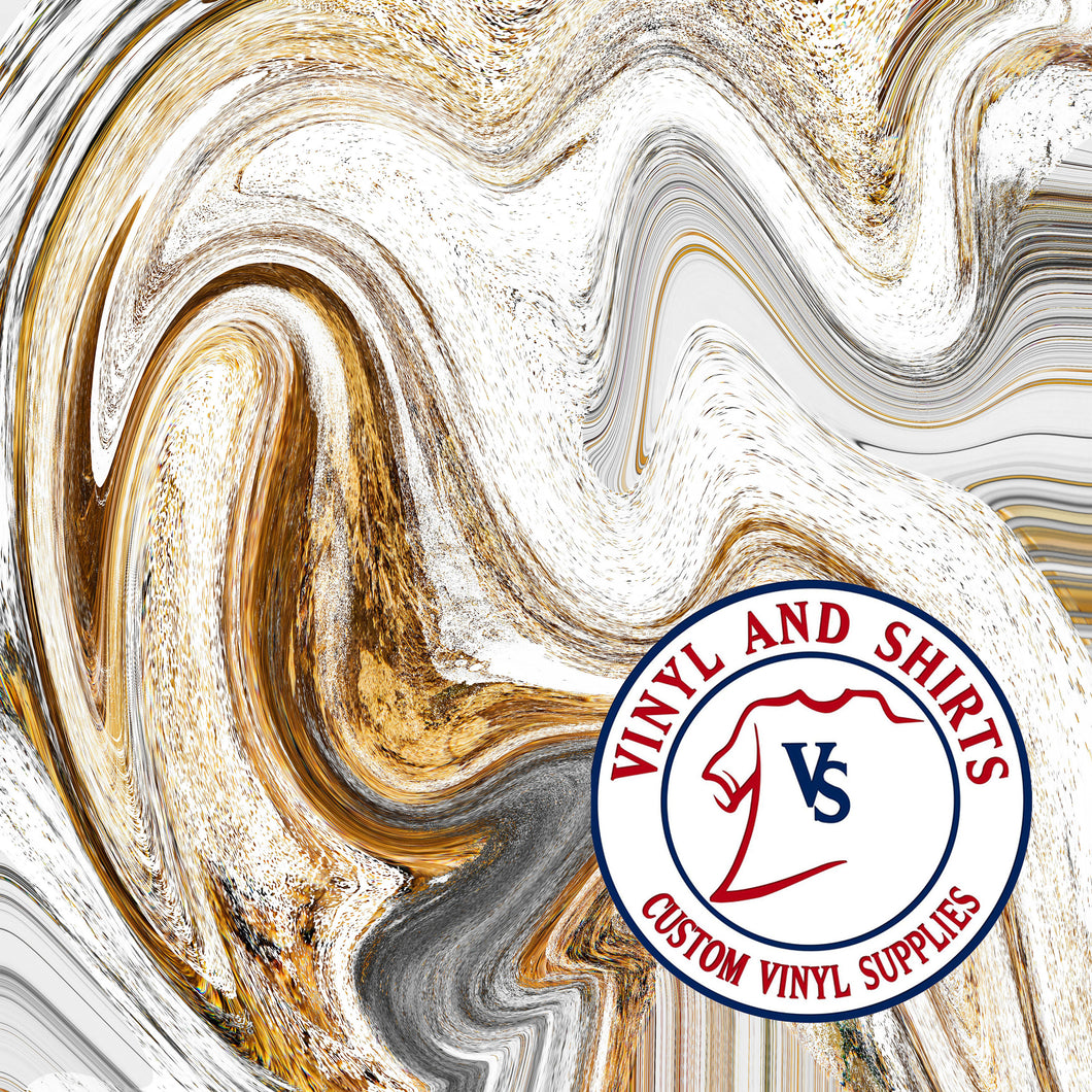 White Gold Paint Swirl patterned Vinyl / Printed 651  / Printed Vinyl / Outdoor Vinyl / Printed HTV/Printed Heat Transfer Vinyl/