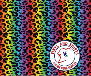 Rainbow Leopard Pattern Vinyl / Printed 651 Vinyl / Patterned Vinyl / pattern Outdoor Vinyl / Pattern HTV/ Printed Heat Transfer Vinyl