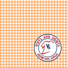 Load image into Gallery viewer, Orange Gingham Plaid Vinyl / Printed 651 Vinyl / Printed Vinyl /Printed Outdoor Vinyl / Printed HTV/Printed Heat Transfer Vinyl