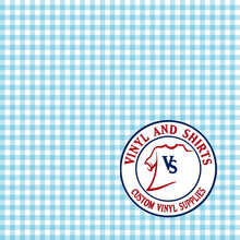 Load image into Gallery viewer, Light Blue Gingham Plaid Vinyl / Printed 651 Vinyl / Printed Vinyl /Printed Outdoor Vinyl / Printed HTV/Printed Heat Transfer Vinyl