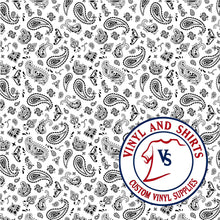 Load image into Gallery viewer, White Bandana Patterned Vinyl,  Bandana Patterned Vinyl,  /patterned 651 Vinyl /Printed Outdoor Vinyl / Printed HTV/ Heat Transfer Vinyl
