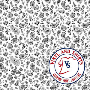 White Bandana Patterned Vinyl,  Bandana Patterned Vinyl,  /patterned 651 Vinyl /Printed Outdoor Vinyl / Printed HTV/ Heat Transfer Vinyl