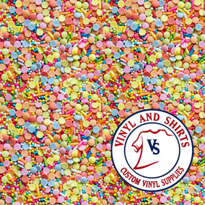 Candy Sprinkles  Pattern Vinyl / Printed 651 Vinyl / Patterned Vinyl / pattern Outdoor Vinyl / Pattern HTV/ Printed Heat Transfer Vinyl