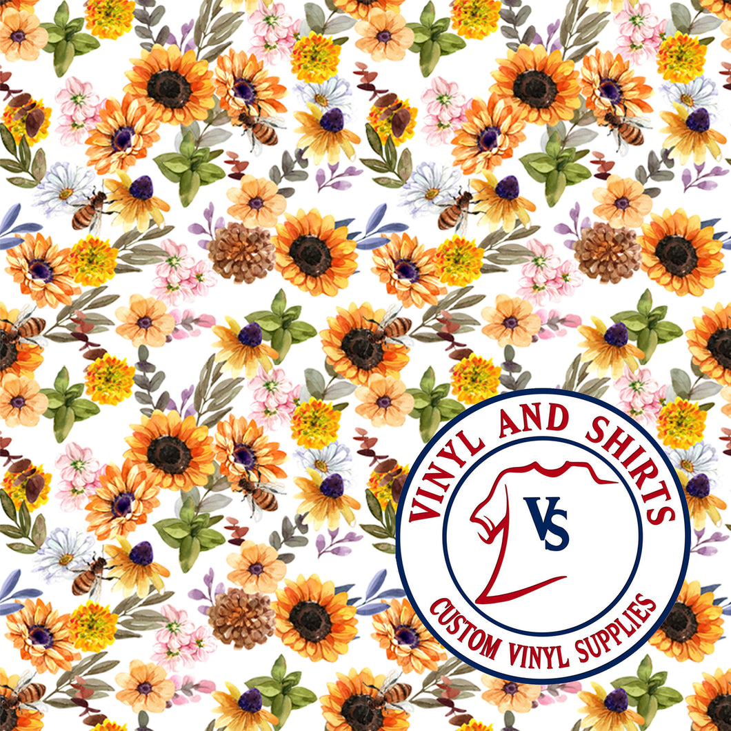 Spring Sunflower / Printed Vinyl /Printed Outdoor Vinyl / Printed HTV/Printed Heat Transfer Vinyl / Lilly inspired / 651/ decal vinyl / HTV