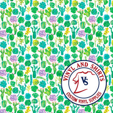 Load image into Gallery viewer, Watercolor Cactus Pattern Vinyl / Printed Vinyl // Printed HTV/Printed Heat Transfer Vinyl / Lilly inspired / 651/ decal vinyl /