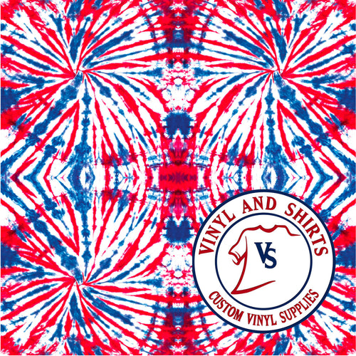 Red White and Blue Tiled Tie Dye VInyl Pattern /Printed Vinyl /Printed Outdoor/indoor Vinyl /Printed Heat Transfer Vinyl/4th of July