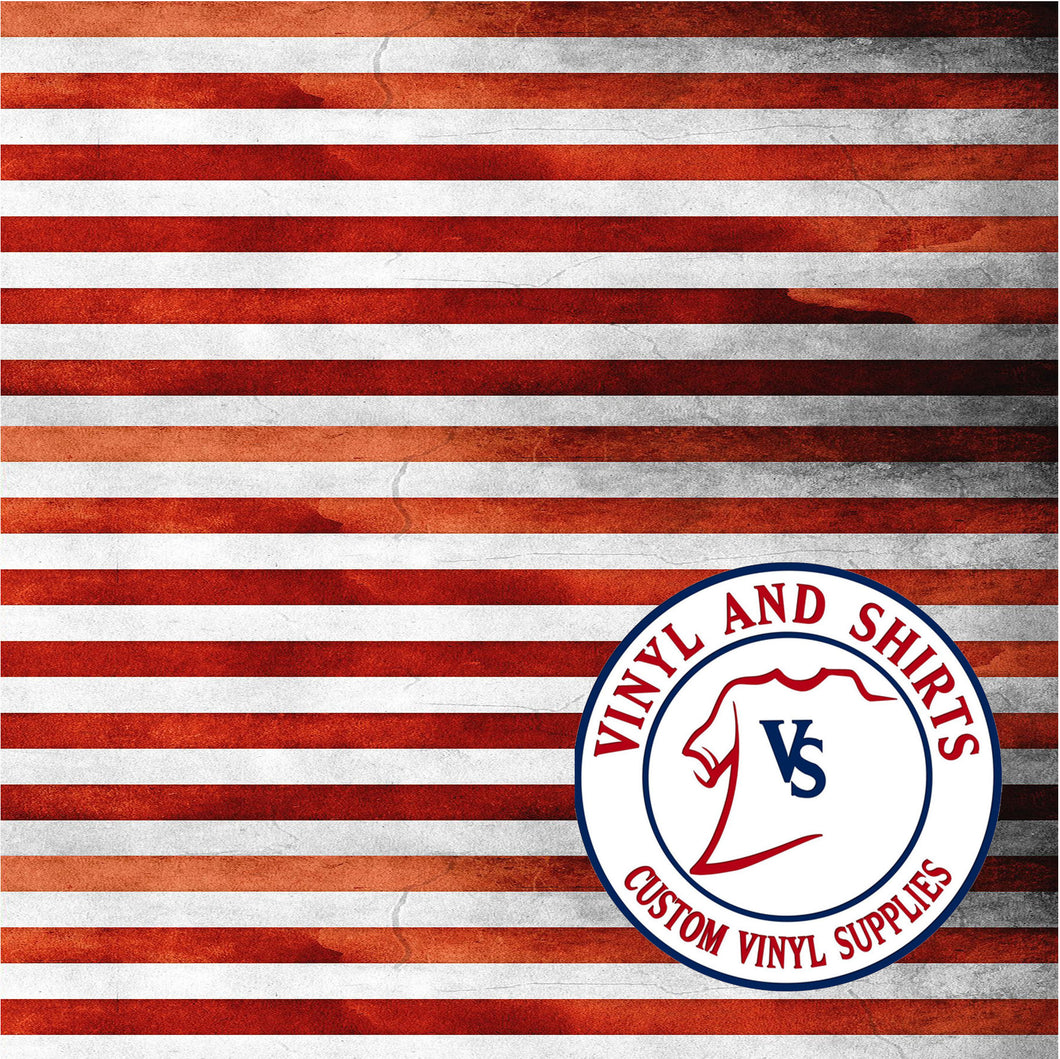 Distressed American Flag Stripes Pattern Vinyl, Choose From Adhesive Vinyl or Heat Transfer Vinyl HTV