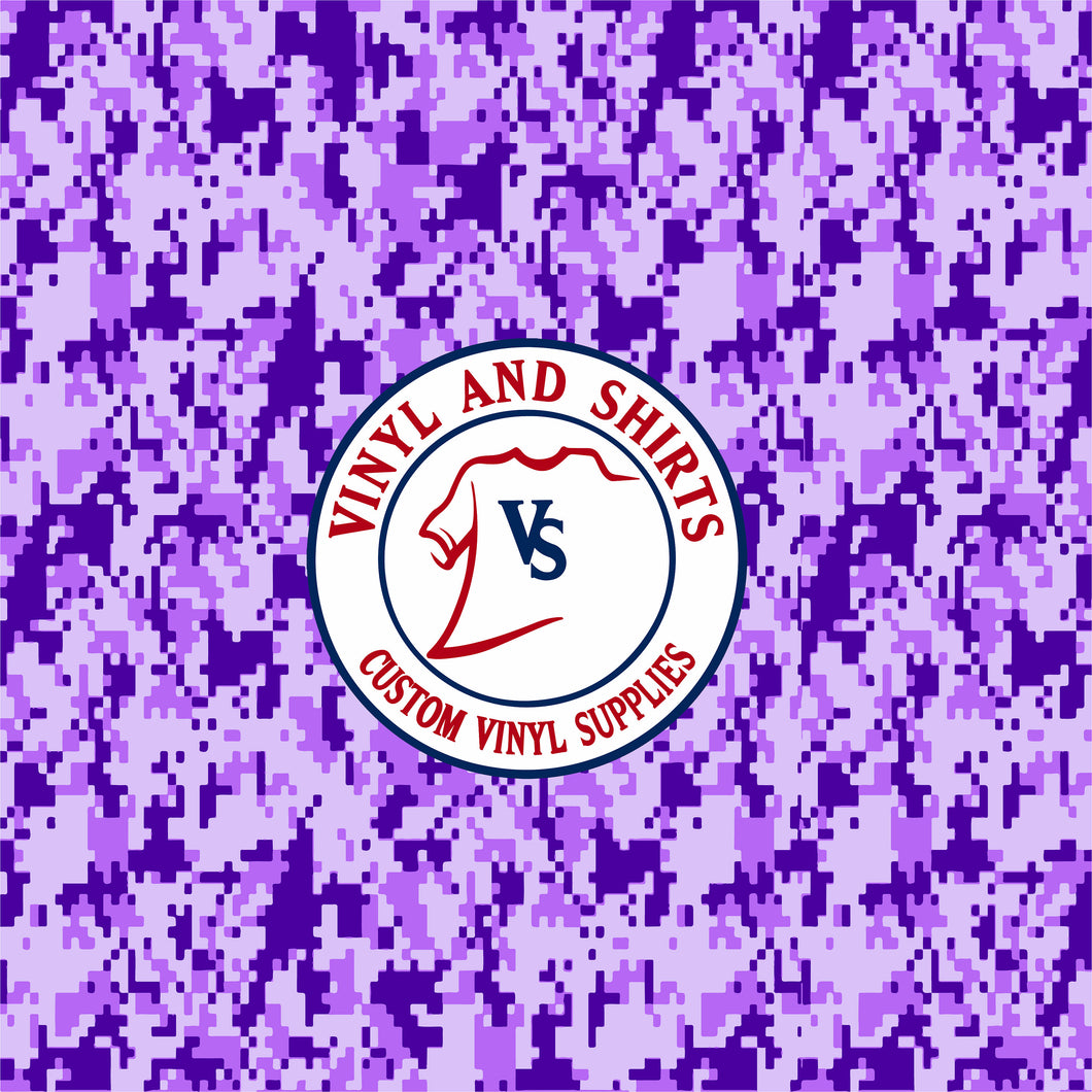Purple Digital Camo Patterned Vinyl / Printed 651 Vinyl /Pattern Vinyl /Printed Outdoor Vinyl / Pattern Heat Transfer Vinyl