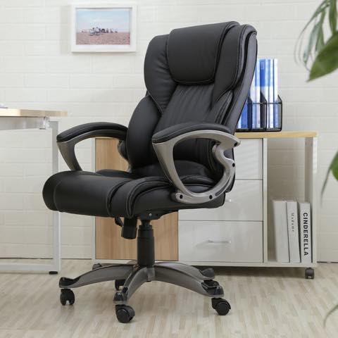 BLACK LEATHER PU HIGH-BACK EXECUTIVE ERGONOMIC OFFICE CHAIR FOR COMPUTER DESK