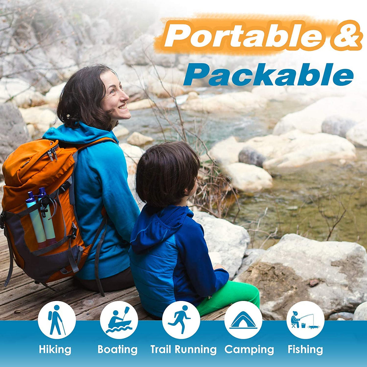 POTABLE 3 STAGE GRAVITY WATER FILTER - 3L STORAGE CAPACITY WITH 7 GALLONS PER HOUR FILTRATION