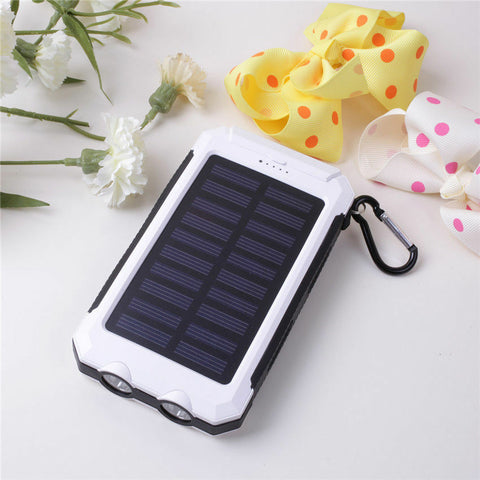 Portable Waterproof Solar Power Bank White and Black