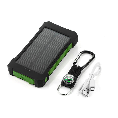 Portable Waterproof Solar Power Bank Green and Black
