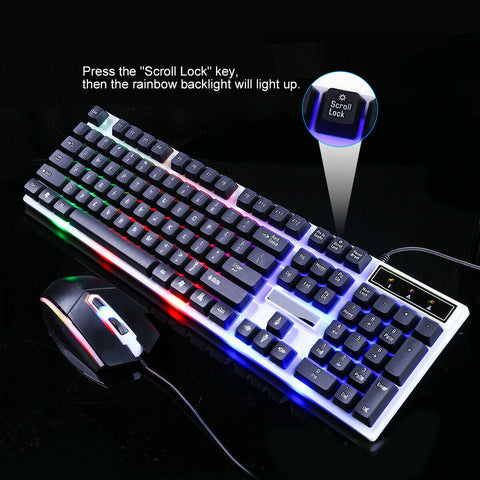 Waterproof Ergonomic RGB Gaming Keyboard and Mouse Black