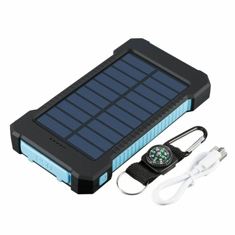 Portable Waterproof Solar Power Bank Blue and Black