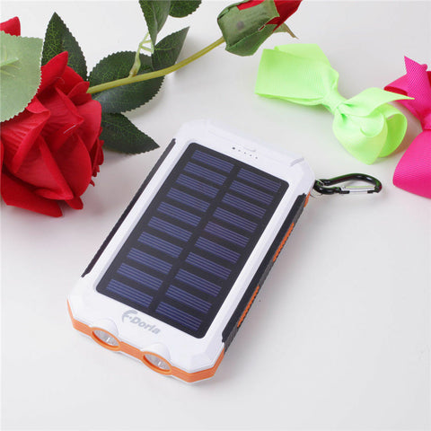Portable Waterproof Solar Power Bank White and Orange