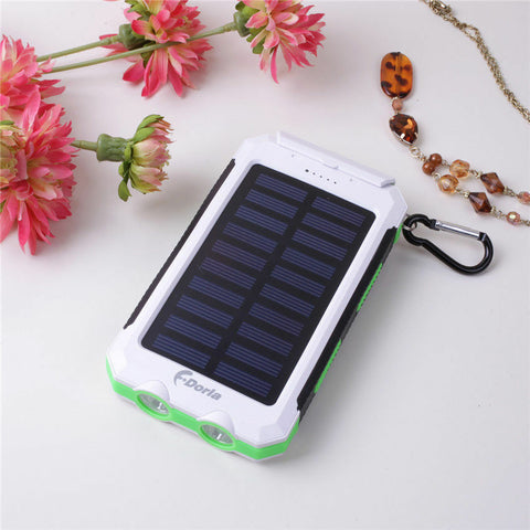 Portable Waterproof Solar Power Bank White and Green