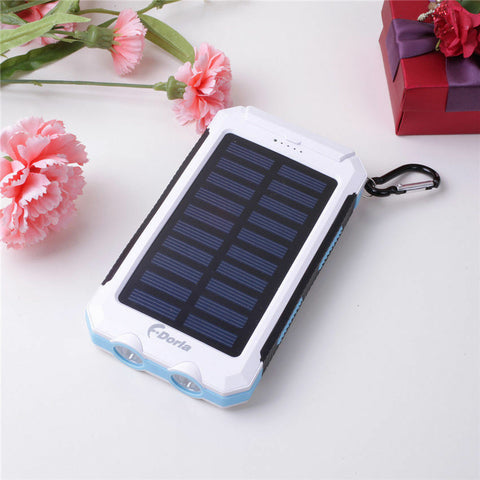 Portable Waterproof Solar Power Bank White and Blue