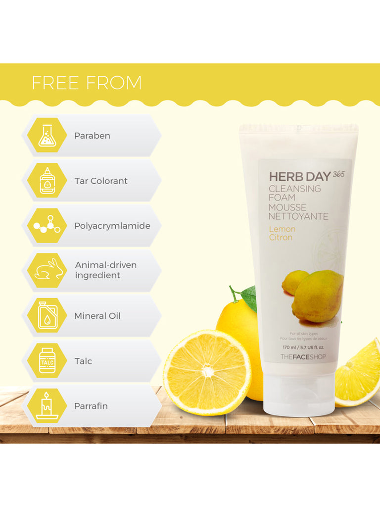 THE FACESHOP Herb Day 365 Cleansing Foam Lemon - Misumi Cosmetics Nepal