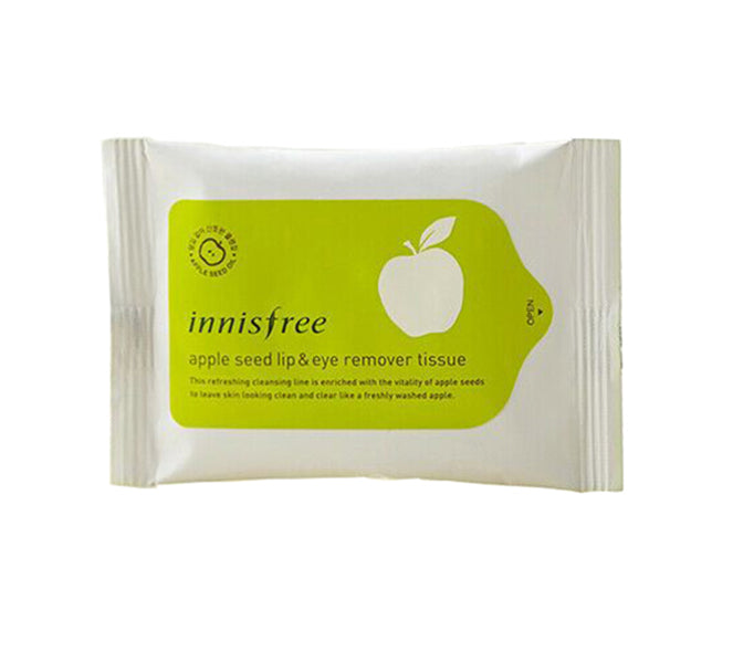 Innisfree Apple Seed Lip & Eye Remover Tissue 30 sheets - Misumi Cosmetics Nepal