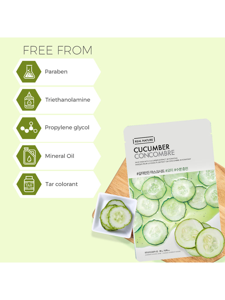 THE FACESHOP Real Nature Face Mask Cucumber - Misumi Cosmetics Nepal