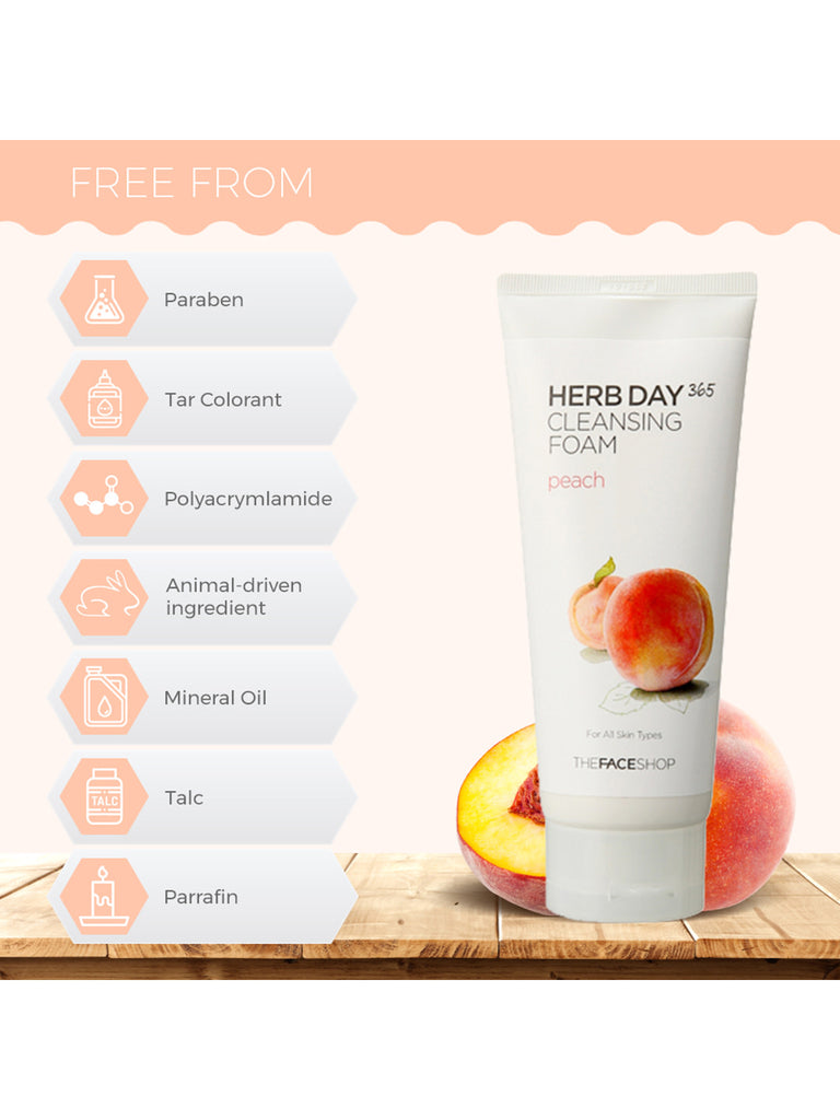 THE FACESHOP Herb Day 365 Cleansing Foam Peach - Misumi Cosmetics Nepal