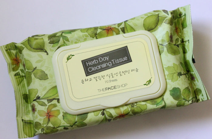THE FACESHOP Herb Day Cleansing Tissue 70 pcs - Misumi Cosmetics Nepal