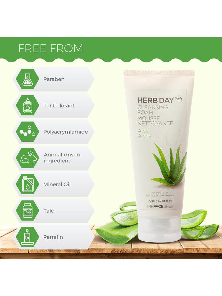 THE FACESHOP Herb Day 365 Cleansing Foam Aloe - Misumi Cosmetics Nepal