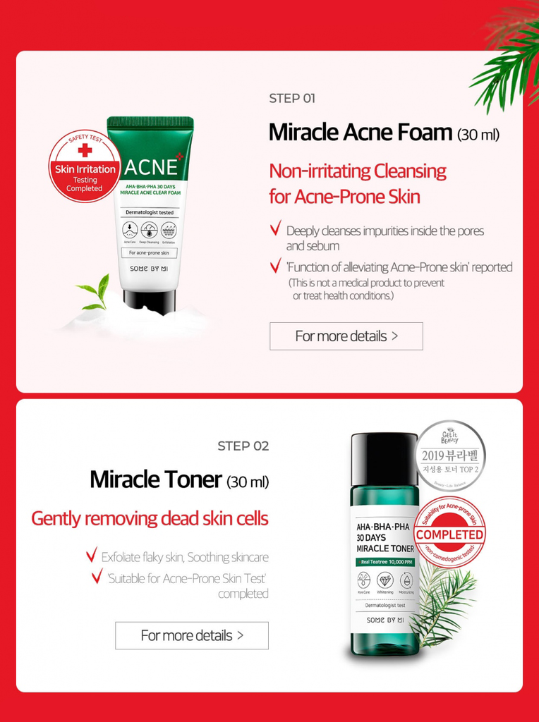 SOME BY MI AHA. BHA. PHA 30 Days Miracle AC SOS Kit - Misumi Cosmetics Nepal