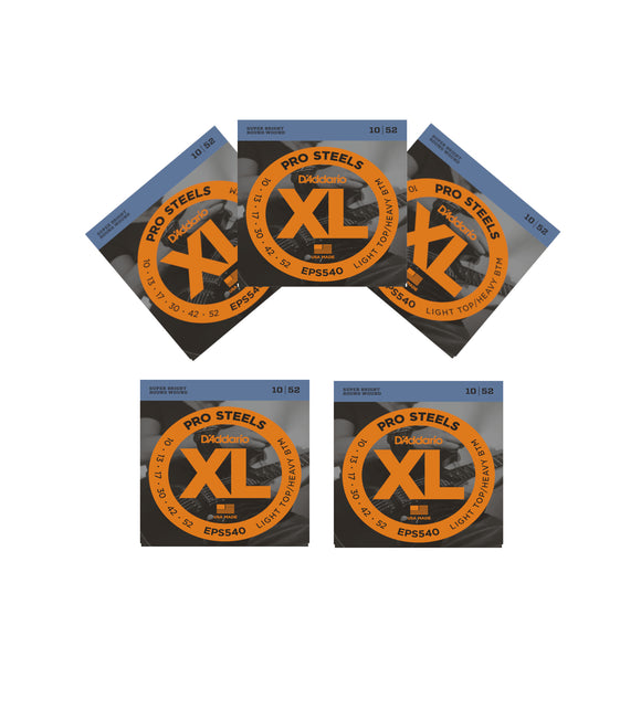 D'Addario Guitar Strings 5 Pack Electric Pro Steels EPS540 Light - Heavy