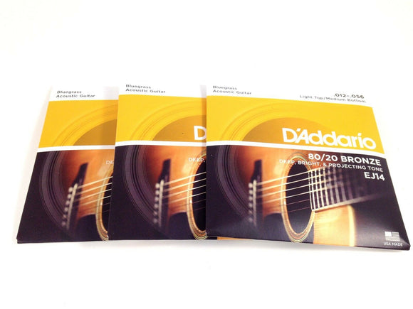 D'Addario Guitar Strings  3 Pack  EJ14 Bluegrass 80/20 Bronze 12-56