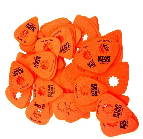 Everly Star Guitar Picks  72 Pack  .60mm  Orange.