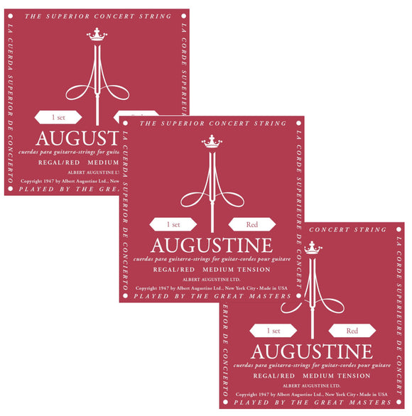 Augustine Guitar Strings 3-Packs Classical Regal Red Medium Tension 531A.