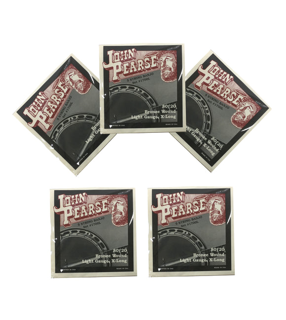 John Pearse Banjo Strings 5 Pack 80/20 Bronze Wound Light Gauge Extra Long