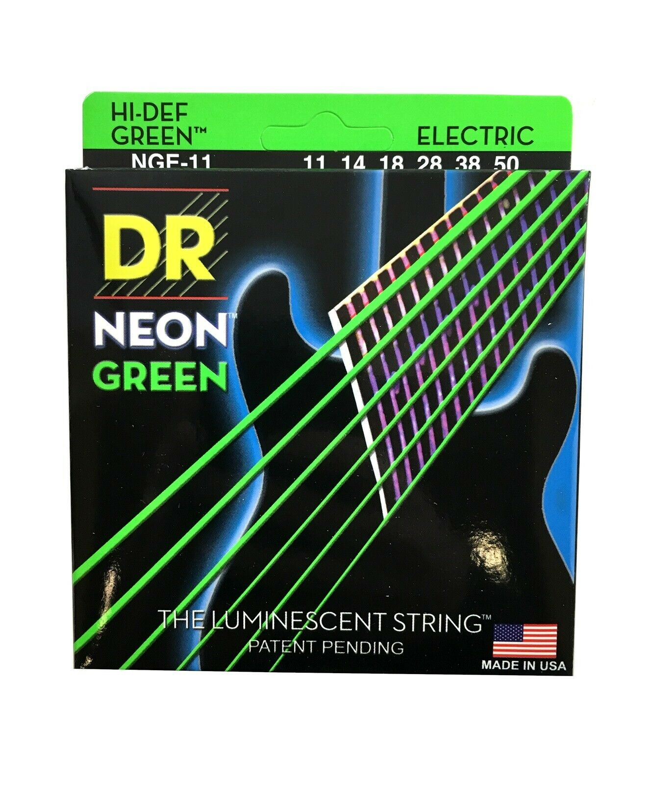 DR Guitar Strings Electric Neon Green 11-50 Heavy.