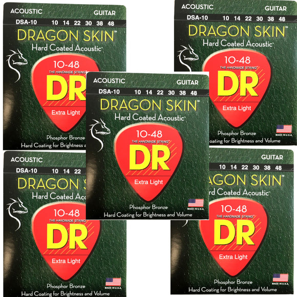 DR Guitar Strings 5-Pack  Acoustic Dragon Skin 10-48 Extra Light