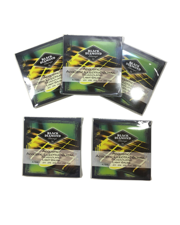 Black Diamond Guitar Strings 5-Pack Acoustic Light Silver Plated N754L 11-51