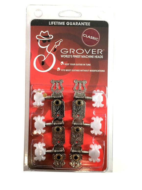 Grover Grover 303N 3 Per Side Classical Guitar Machine Heads, Nickel
