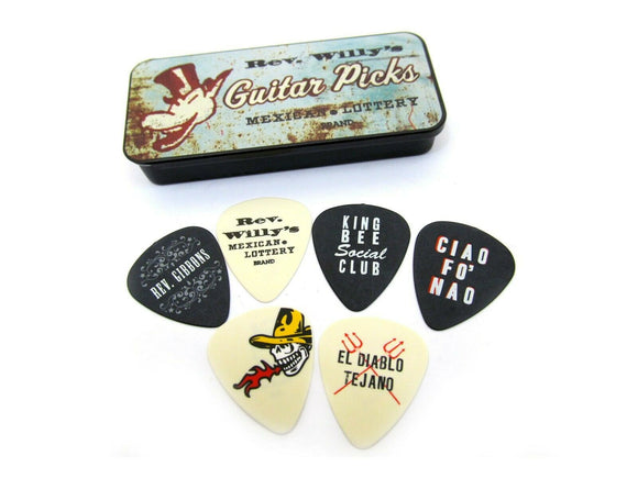 Reverend Willy's Guitar Picks  Billy Gibbons  Pick Tin  6 picks Heavy Dunlop.