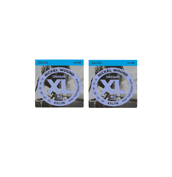 D'Addario  Guitar Strings  2 Pack  Electric  EXL116  Medium Top/Heavy Bottom