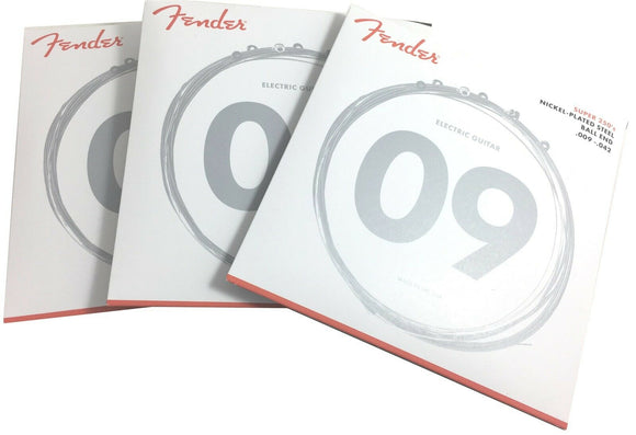 Fender Guitar Strings  Super 250  Nickel Plated Steel  9-42 Light  3 Sets