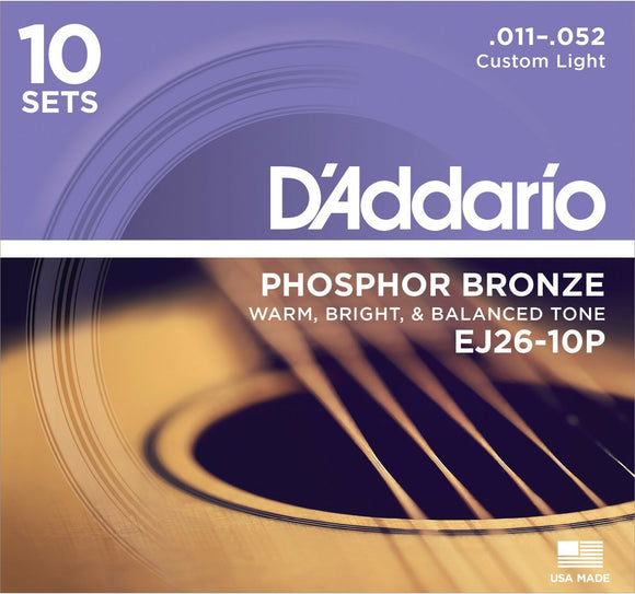10 Sets D'Addario EJ26-3D Acoustic Guitar Strings Phosphor Bronze Round