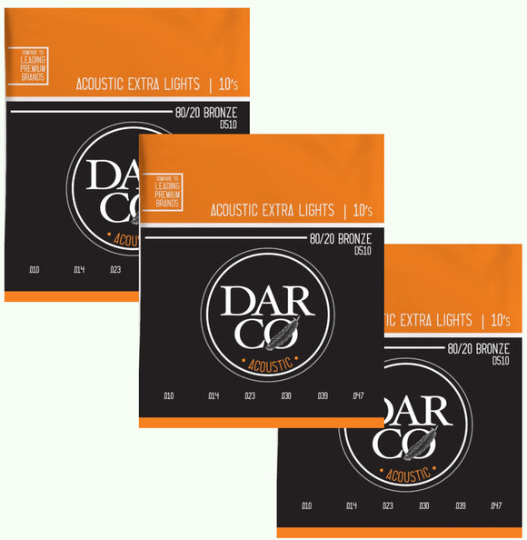 Darco Martin Guitar Strings 3-Pack Acoustic Extra Light 10-54